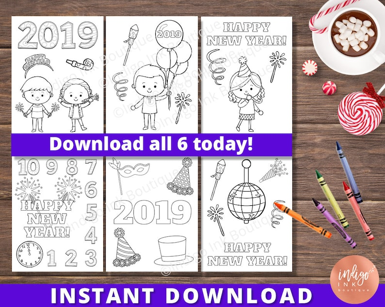 Coloring Pages for Kids | New Years Eve Printables for Kids | Kids Coloring  Fun | New Years Coloring INSTANT DOWNLOAD