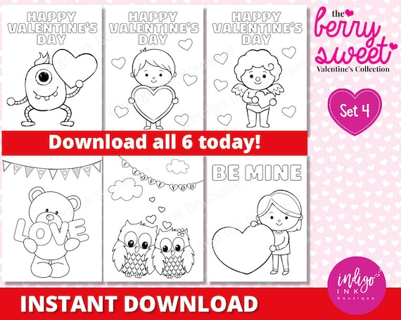 Valentines Day Coloring Sheets For Kids INSTANT DOWNLOAD Valentine  Coloring Pages Kids Coloring Printables For Kids By Indigo Ink Boutique  Catch My Party