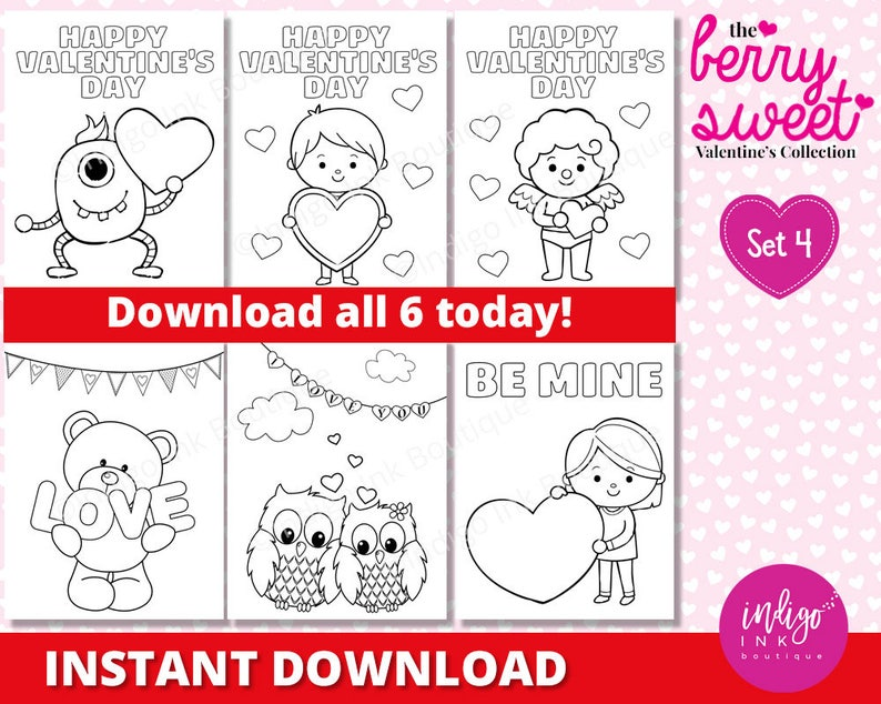 Valentines Day Coloring Sheets for Kids Valentine Coloring | Etsy