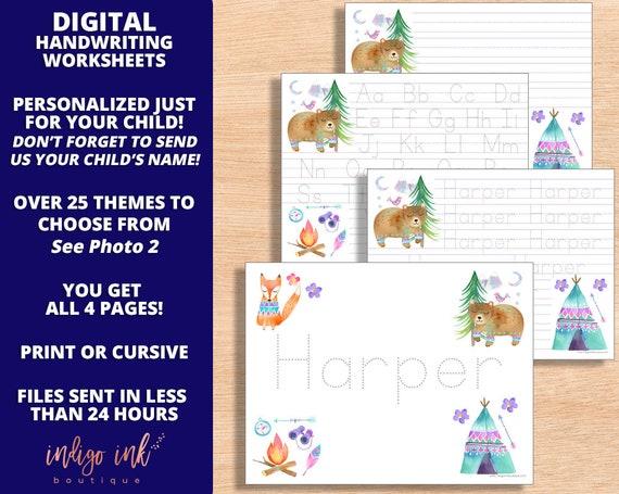 Handwriting Worksheet DIGITAL Name Writing Homeschool Printable Kindergarten  Handwriting Practice By Indigo Ink Boutique Catch My Party