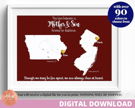 Mom Gifts From Son Digital Print Mother S Day Gift Printable Art Mother And Son Two States Map Mom From Son By Indigo Ink Boutique Catch My Party