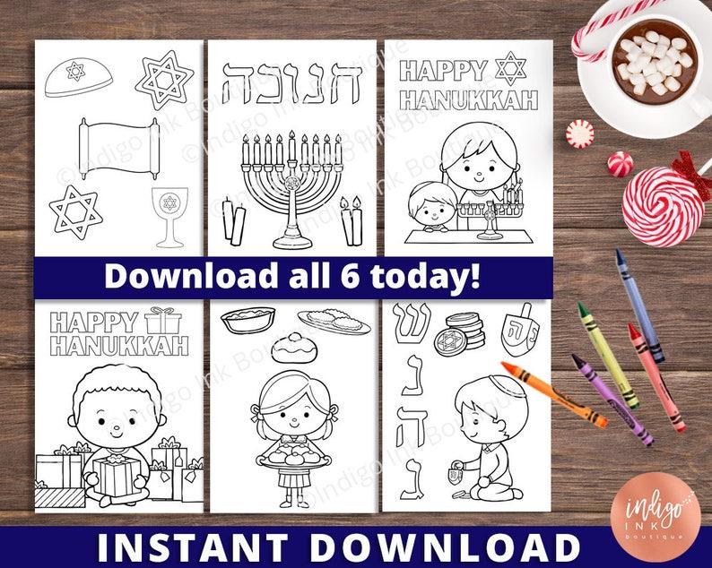 Hanukkah Coloring Pages Instant Download Chanukah Coloring Etsy