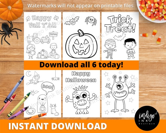 Halloween Coloring Sheets INSTANT DOWNLOAD  Fall Coloring