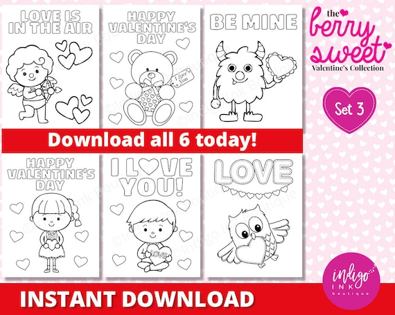Kids Valentine Coloring Sheets Valentines Day Coloring Pages Etsy