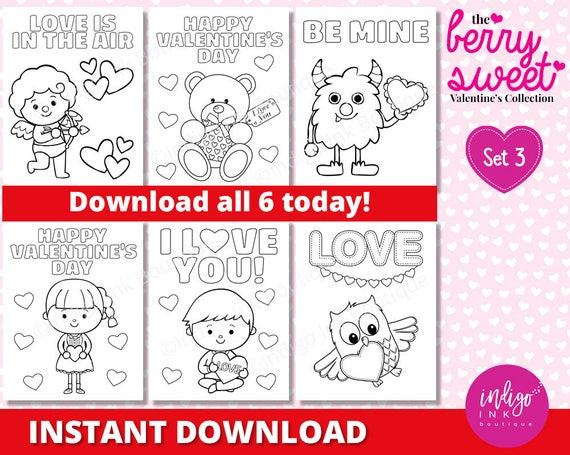 Kids Valentine Coloring Sheets Valentines Day Coloring Pages | Etsy