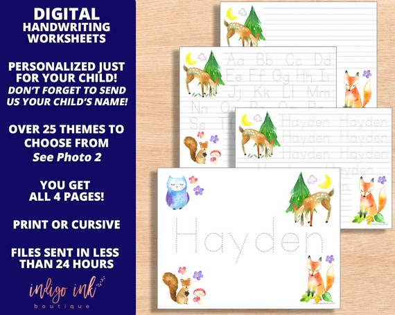 Name Tracing Handwriting Worksheet DIGITAL | Custom Name ...