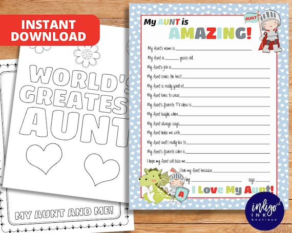 All About My Aunt Kid Questionnaire Aunt Gift Aunt Birthday