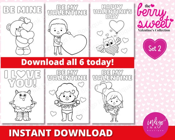 Valentine Day Coloring Pages for Kids | Valentine Coloring Sheets | Kids Coloring | Printables for Kids INSTANT DOWNLOAD