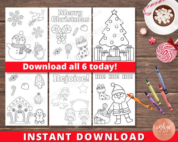 Kids Christmas Coloring Pages | Kids Coloring Sheets | Holiday Coloring  Printables for Kids INSTANT DOWNLOAD