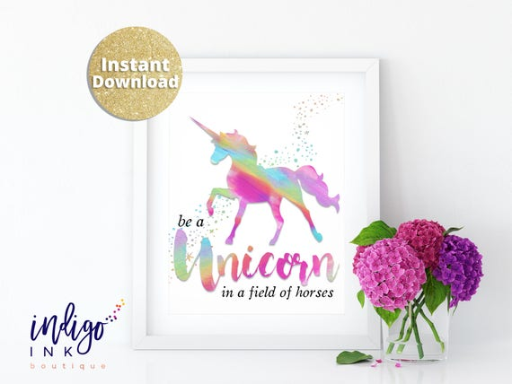 It is a picture of Be a Unicorn in a Field of Horses Free Printable throughout unicorn party printables