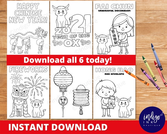 Chinese New Year Coloring Pages INSTANT DOWNLOAD 2021 Year Of The Ox Coloring  Sheets Lunar New Year Coloring By Indigo Ink Boutique Catch My Party