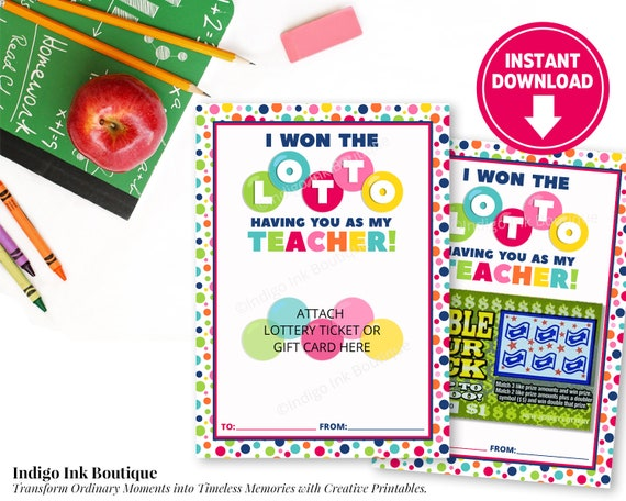 Lottery Ticket Holder Gift for Teacher INSTANT DOWNLOAD | Teacher  Appreciation End of Year Gift | I Won the Lotto Gift Card Holder