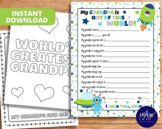 All About Grandpa Kid Questionnaire Grandfather Gift