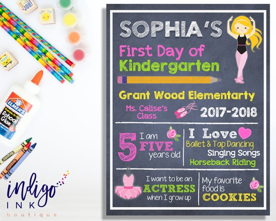 First Day of School Sign | Personalized Sign | Custom Chalkboard Sign | 1st  Day of School Printable | Princess Printable DIGITAL DOWNLOAD
