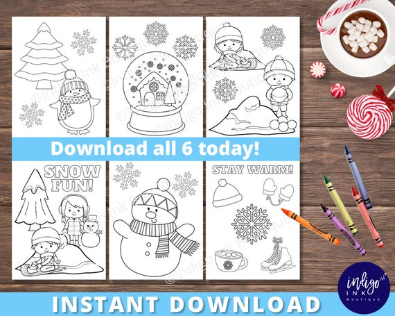 Kids Coloring Pages Winter Coloring Fun Coloring Sheets Etsy