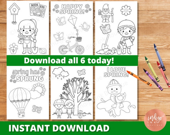 Spring Coloring Pages for Kids  Spring Printable Coloring