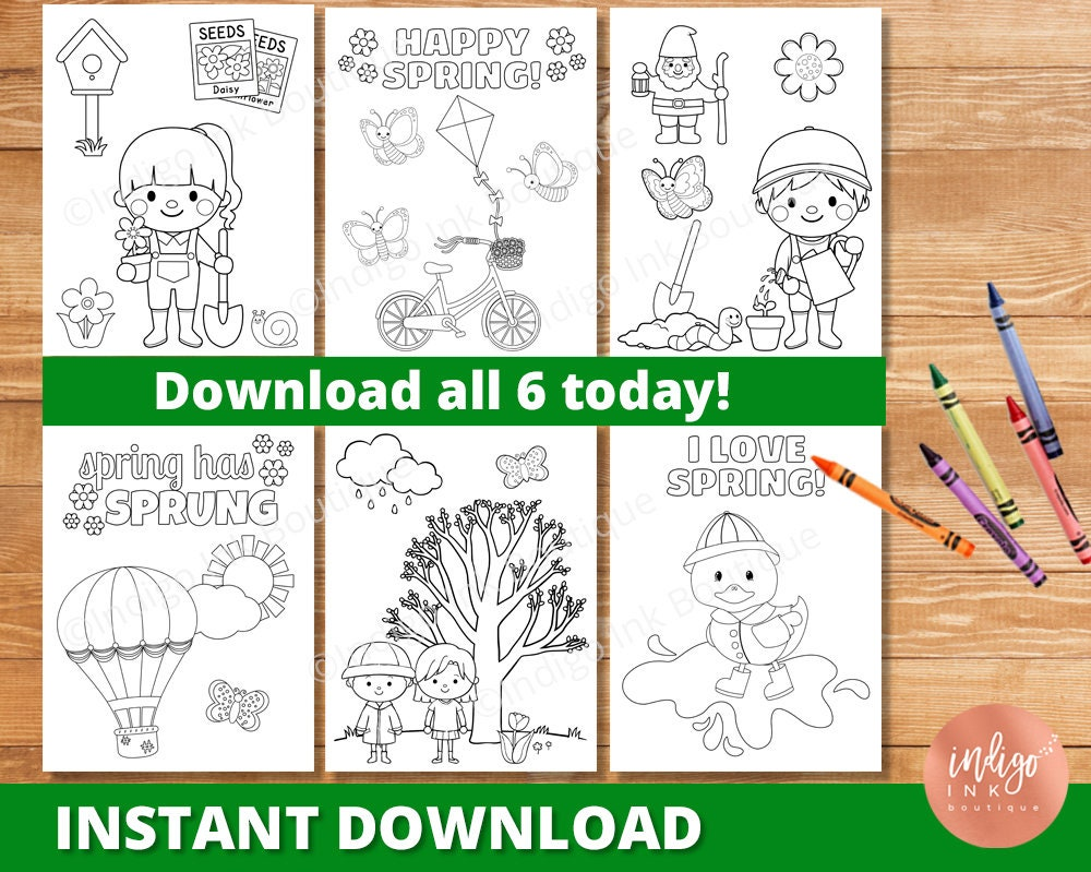 Spring Coloring Pages for Kids Spring Printable Coloring | Etsy