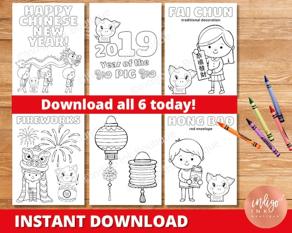 Chinese New Year Coloring Pages | 2019 Year of the Pig ...