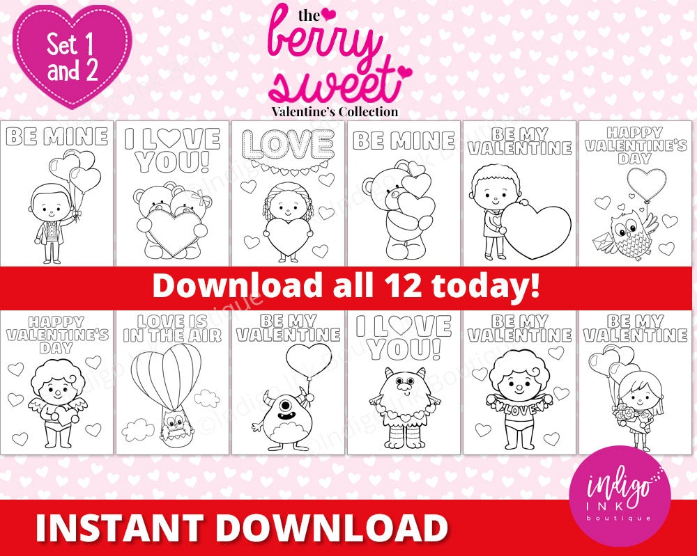 Valentines Day Coloring Pages for Kids | Valentine Coloring Sheets | Kids Coloring | Printables for Kids INSTANT DOWNLOAD