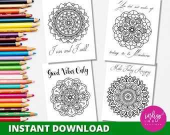 Adult Coloring Pages | Mandala Coloring Sheets | Inspirational Quote Printable Coloring Pages | Digital Coloring for Adults INSTANT DOWNLOAD