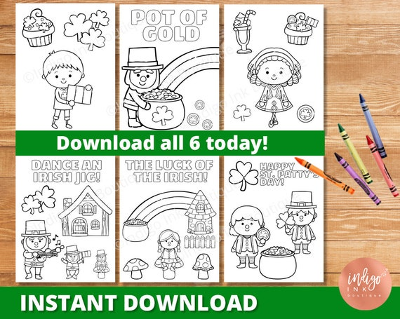 St. Patty's Day Coloring Pages for Kids INSTANT DOWNLOAD
