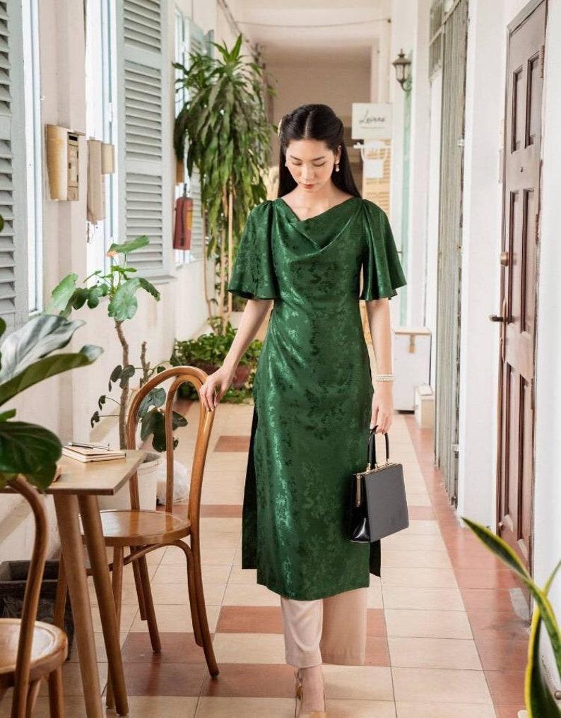 Green ao dai custom tailored