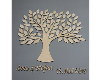 Wedding Tree - Guest book wedding wedding tree made of wood personalized type 10