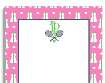 2-Initial Monogram Tennis Dress Large Notepad Black /& Pink