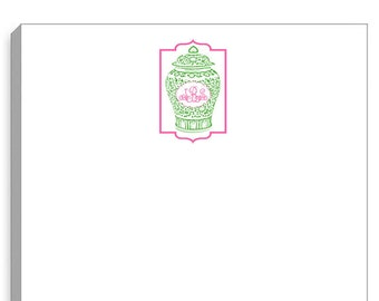 Monogrammed Pink & Green Chinoiserie Topiary Large Notepad