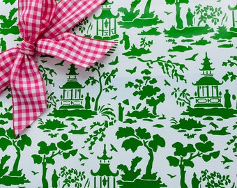 Wrapping Paper Green Chinoiserie Pagoda