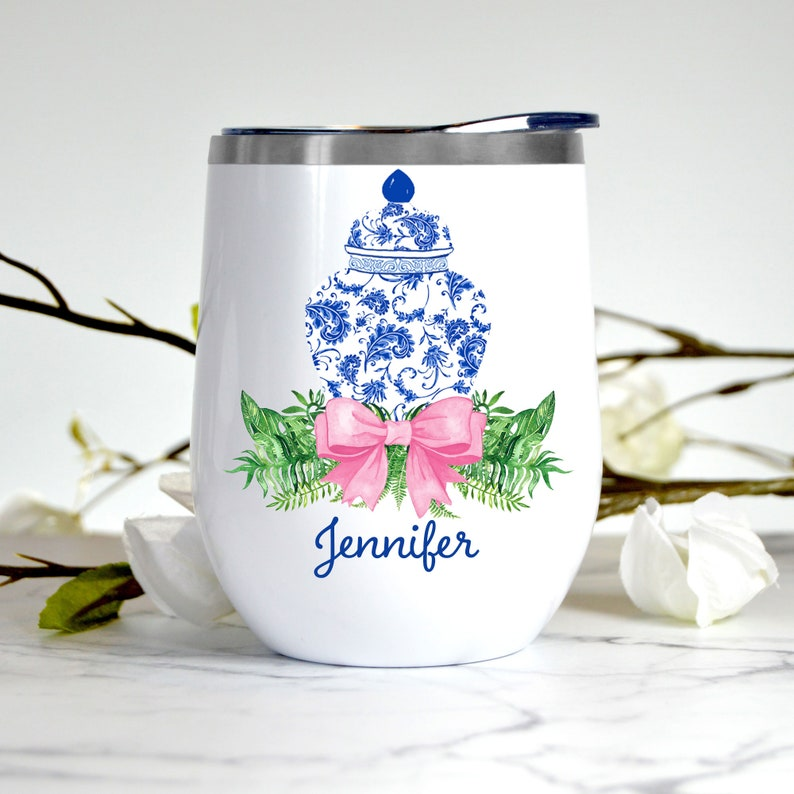 Outdoor Entertaining Bridal Wedding Gift Ginger Jar Swag with Pink Personalized Stemless Wine Tumbler Custom Insulated Wine Tumbler