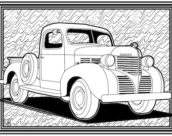 old cars etsy 1967 Ford Anglia downloadable high resolution coloring page 3 retro old cars series