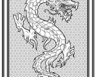 Downloadable High-Resolution Coloring Page; Dragon VAROUG
