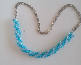 beaded necklace with summer colors, handmade jewelry, spiral bead weaving, less than 30 euros