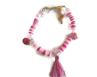bracelets, glass beads and synthetic, gold, for little girl, tassel