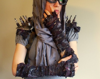 Pair Convertible Elbow Gloves, Mad Max Inspired Post-Apocalyptic Ragged Fingerless Wrap Zombie Slayer DieselPunk Costume Cosplay