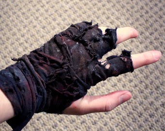 Single Glove, Mad Max Inspired Post-Apocalyptic Ragged Fingerless Wrap Zombie Slayer DieselPunk Costume cosplay