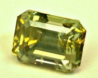 VINTAGE Rock Creek MONTANA SAPPHIRE Yellow Faceted emerald cut 2.82 cts src7