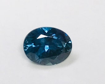 VINTAGE Blue SAPPHIRE Faceted Rock Creek Montana GEMSTONE oval 6.5x5.0mm 0.89cts src34