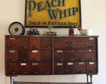 Antique Oak 22 Drawer Parts Bin Cabinet, Antique Apothecary Cabinet, Card  Catalog Style Cabinet, Vintage Industri