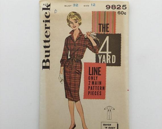 Butterick 9825 Four Yard Sheath Shirtdress - Size 12 Bust 32 - Vintage Uncut Sewing Pattern