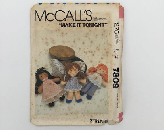 McCall's 7809 (1981) Easy Doll and Wardrobe - Vintage Uncut Sewing Pattern