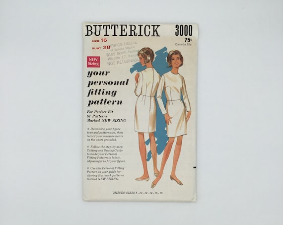 Butterick 3000 Basic Fitting Shell - Size 16 Bust 38 - Vintage Uncut Sewing Pattern