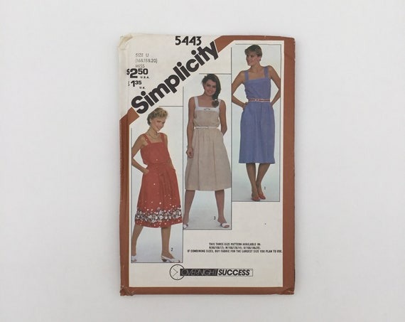 Simplicity 5443 (1982) Sundress - Multiple Sizes Available - Vintage Uncut Sewing Pattern