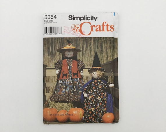 Simplicity 8384 (1998) Witch and Scarecrow with Clothes - Vintage Uncut Sewing Pattern