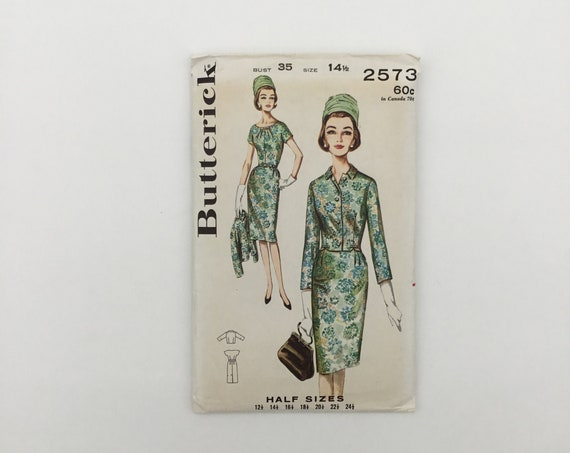 Butterick 2573 Dress and Jacket - Size 14.5 Bust 35 - Vintage Uncut Sewing Pattern
