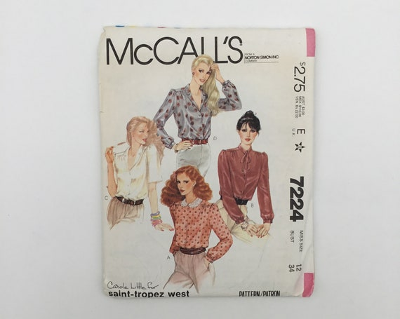 McCall's 7224 (1980) Blouse with Neckline and Sleeve Variations - Multiple Sizes Available - Vintage Uncut Sewing Pattern