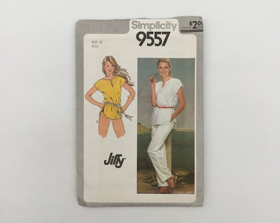 Simplicity 9557 (1980) Tunic and Pants - Size 10 Bust 32.5 - Vintage Uncut Sewing Pattern