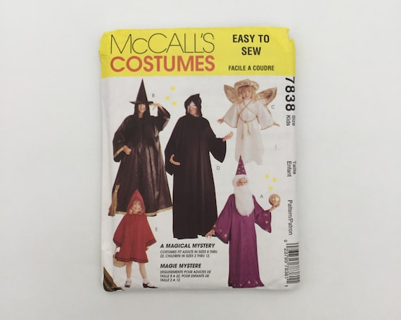 McCall's 7838 (1995) Wizard, Witch, Angel, Phantom, and Red Riding Hood Costumes - Size Child 2-12 - Vintage Uncut Sewing Pattern
