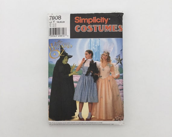 Simplicity 7808 (1997) Wizard of Oz Costumes  - Size Adult 18-22 Bust 40-44 - Vintage Uncut Sewing Pattern